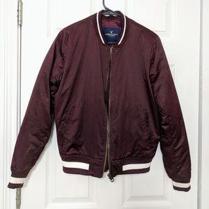 Maroon puff bomber jacket